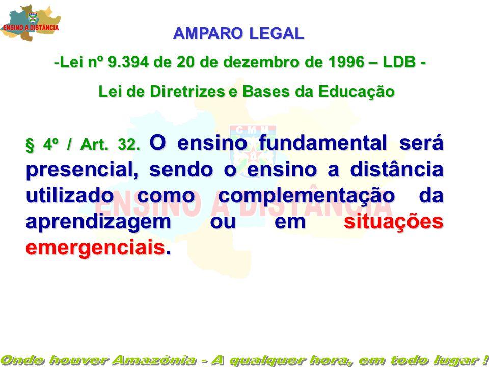 AMPARO LEGAL -Lei nº 9.394 de 20 de dezembro de 1996 – LDB - Lei de Diretrizes e Bases da Educação § 4º / Art.