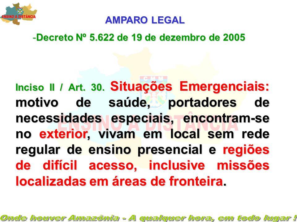 AMPARO LEGAL -Decreto Nº 5.622 de 19 de dezembro de 2005 Inciso II / Art.