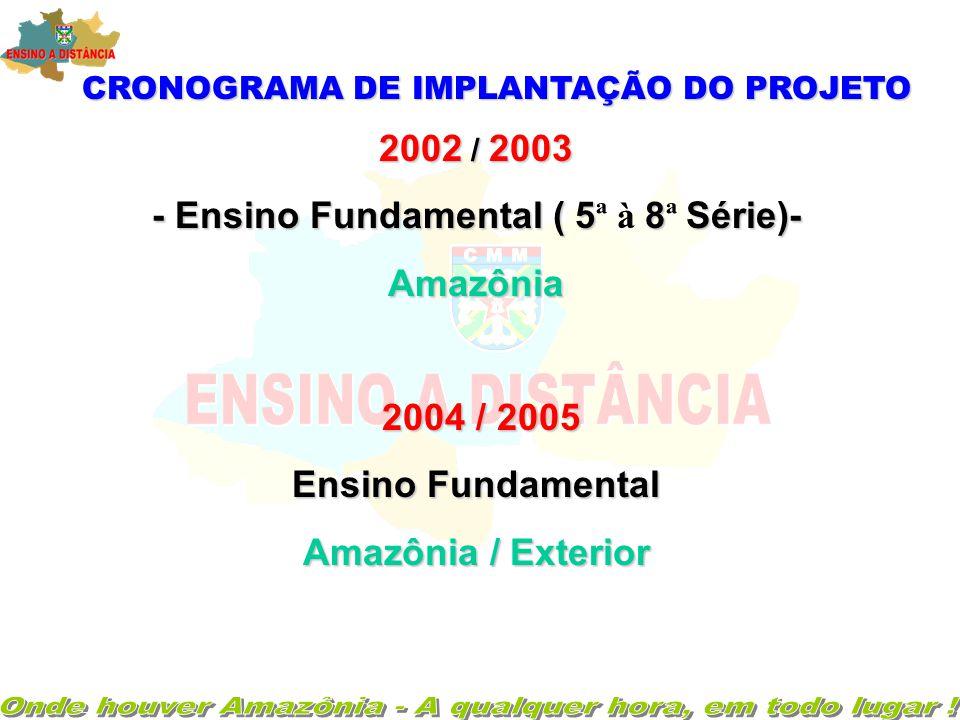 CRONOGRAMA DE IMPLANTAÇÃO DO PROJETO 2002 / 2003 - Ensino Fundamental ( 58Série)- - Ensino Fundamental ( 5 ª à 8 ª Série)-Amazônia 2004 / 2005 2004 / 2005 Ensino Fundamental Amazônia / Exterior