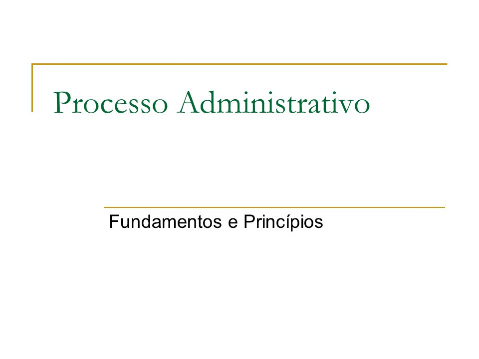 Processo Administrativo Fundamentos e Princípios