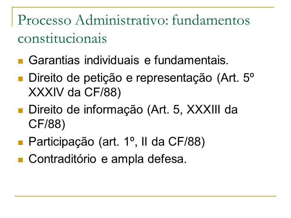 Processo Administrativo: fundamentos constitucionais  Garantias individuais e fundamentais.