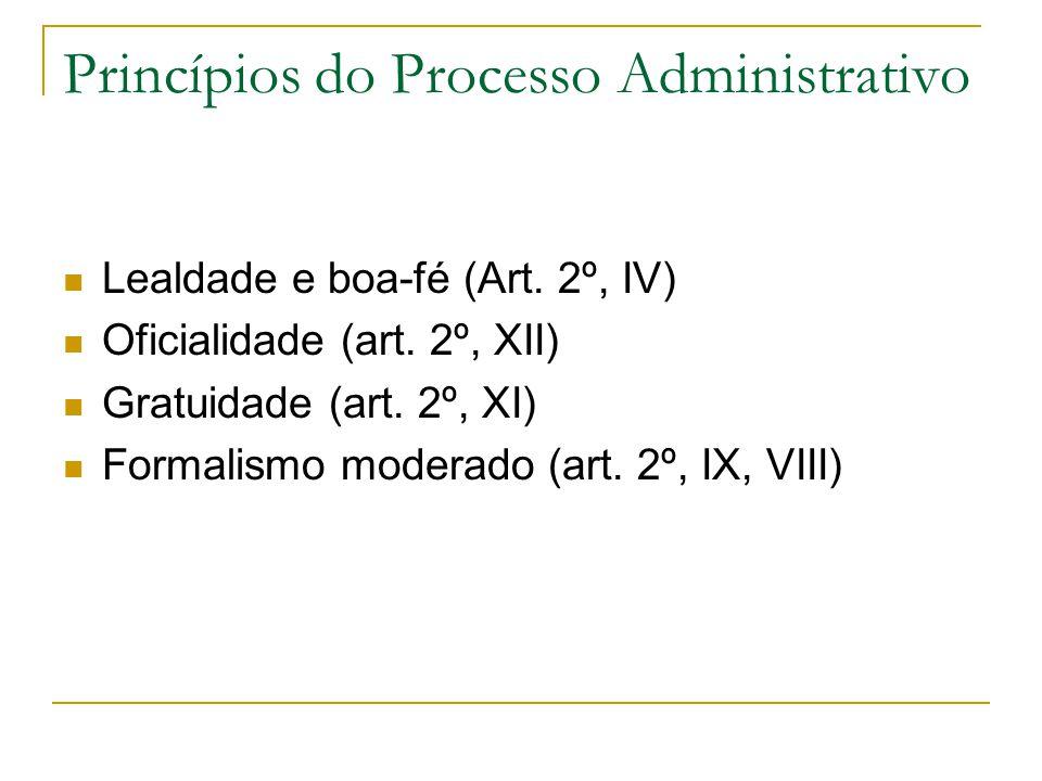 Princípios do Processo Administrativo  Lealdade e boa-fé (Art.