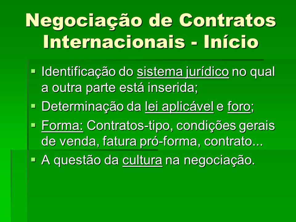 Negociação de Contratos Internacionais - Início  Identificação do sistema jurídico no qual a outra parte está inserida;  Determinação da lei aplicáv