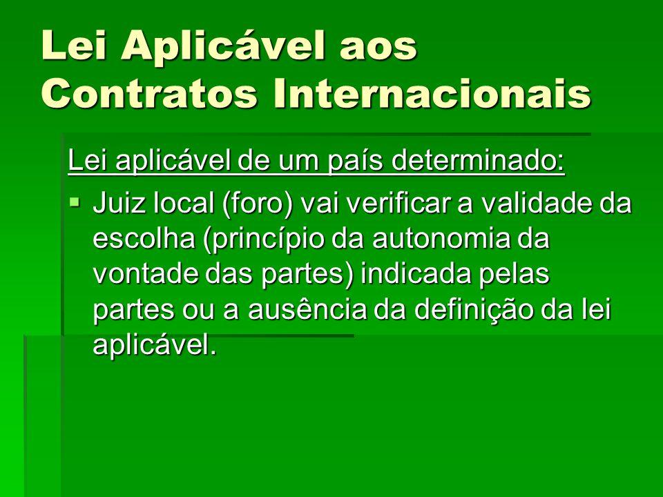 Lei Aplicável aos Contratos Internacionais Lei aplicável de um país determinado:  Juiz local (foro) vai verificar a validade da escolha (princípio da