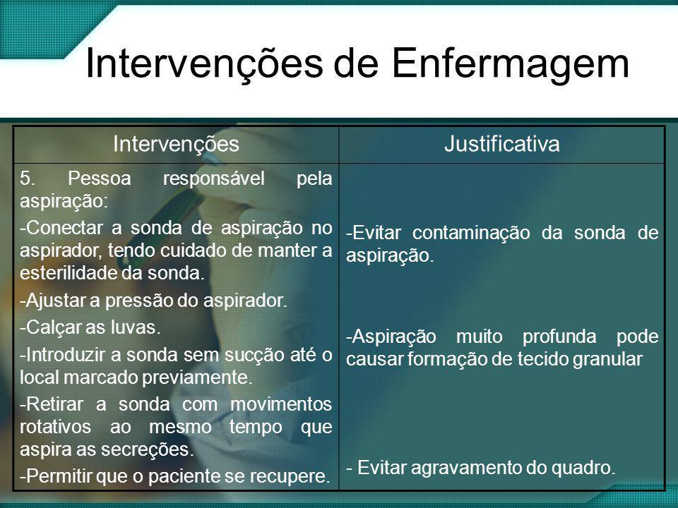 Intervenções de Enfermagem IntervençõesJustificativa 5. Pessoa responsável pela aspiração: -Conectar a sonda de aspiração no aspirador, tendo cuidado