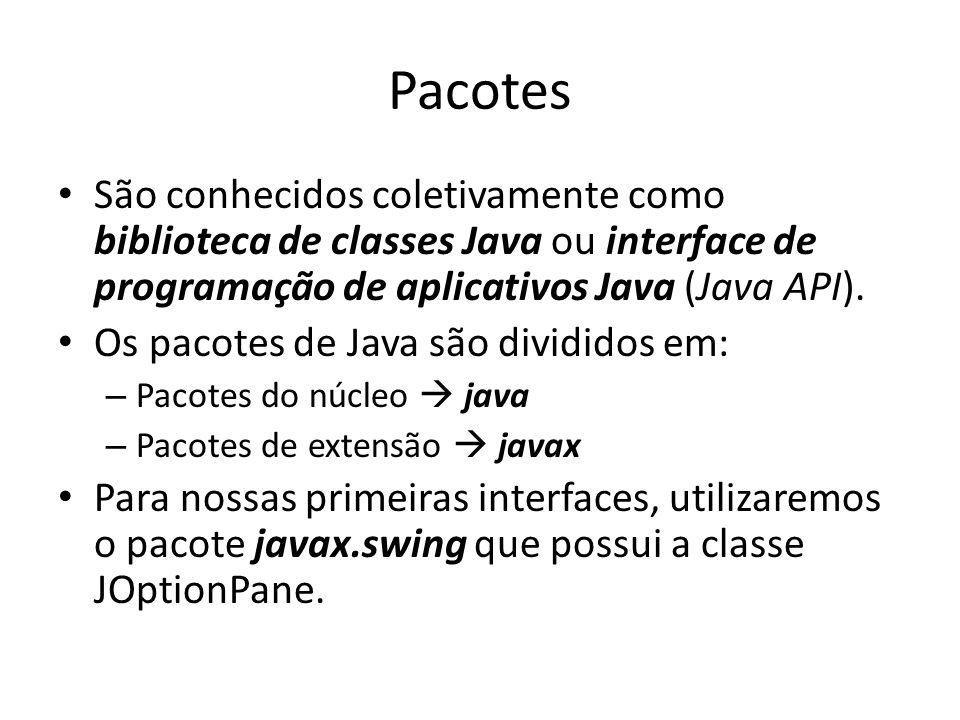 Pacotes • São conhecidos coletivamente como biblioteca de classes Java ou interface de programação de aplicativos Java (Java API). • Os pacotes de Jav
