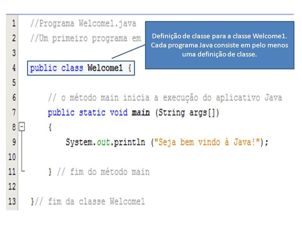 Definição de classe para a classe Welcome1. Cada programa Java consiste em pelo menos uma definição de classe.