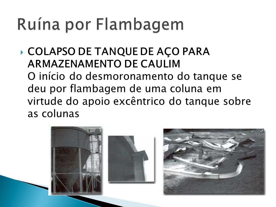  COLAPSO DE TANQUE DE AÇO PARA ARMAZENAMENTO DE CAULIM O início do desmoronamento do tanque se deu por flambagem de uma coluna em virtude do apoio ex