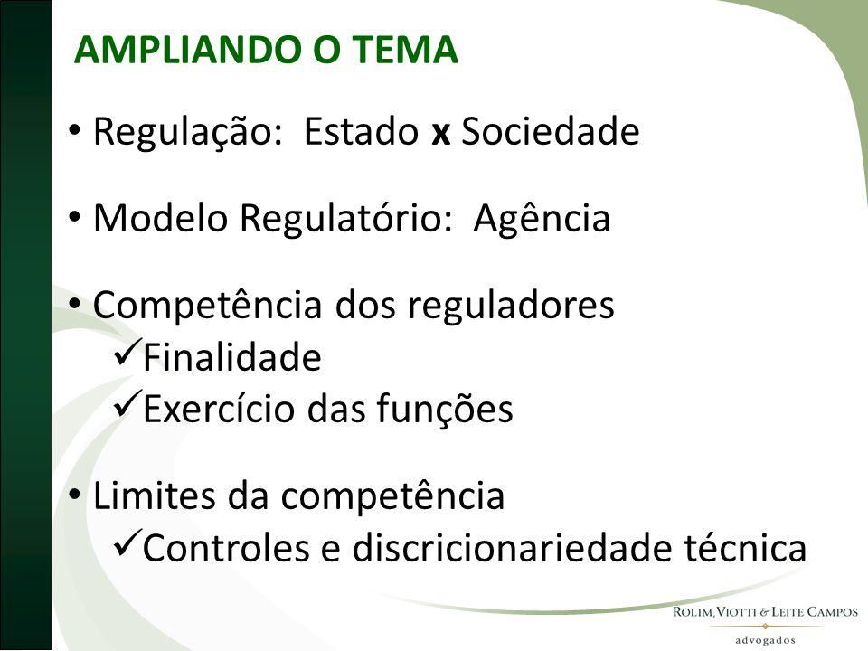 AMPLIANDO O TEMA • Regulação: Estado x Sociedade • Modelo Regulatório: Agência • Competência dos reguladores  Finalidade  Exercício das funções • Limites da competência  Controles e discricionariedade técnica