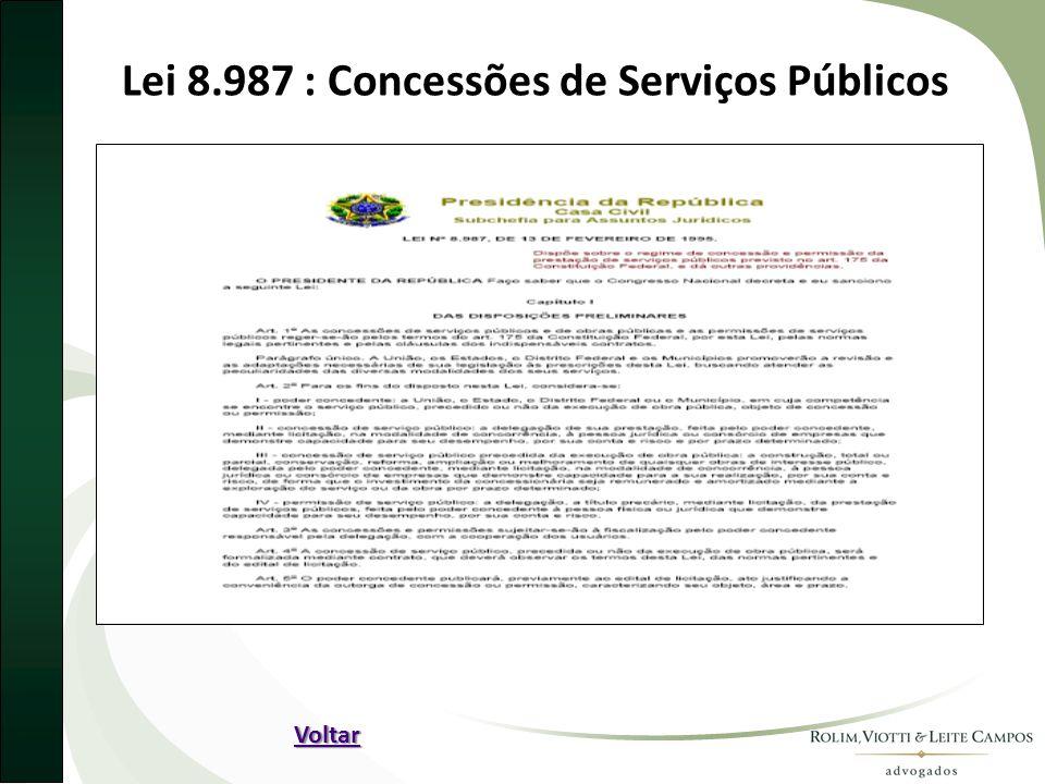 Lei 8.987 : Concessões de Serviços Públicos Voltar