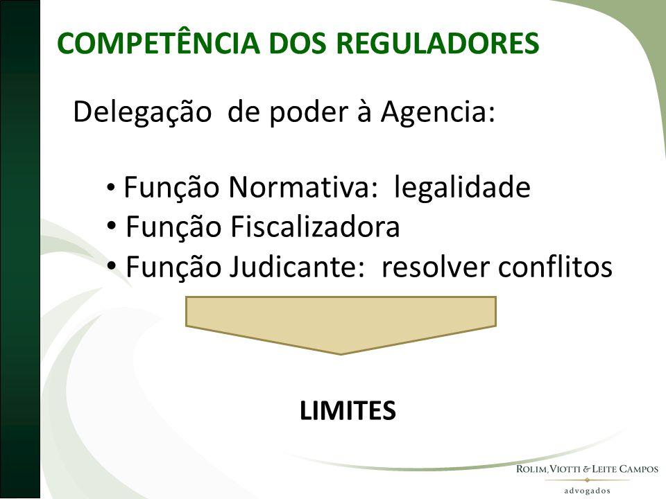 COMPETÊNCIA DOS REGULADORES Delegação de poder à Agencia: • Função Normativa: legalidade • Função Fiscalizadora • Função Judicante: resolver conflitos LIMITES
