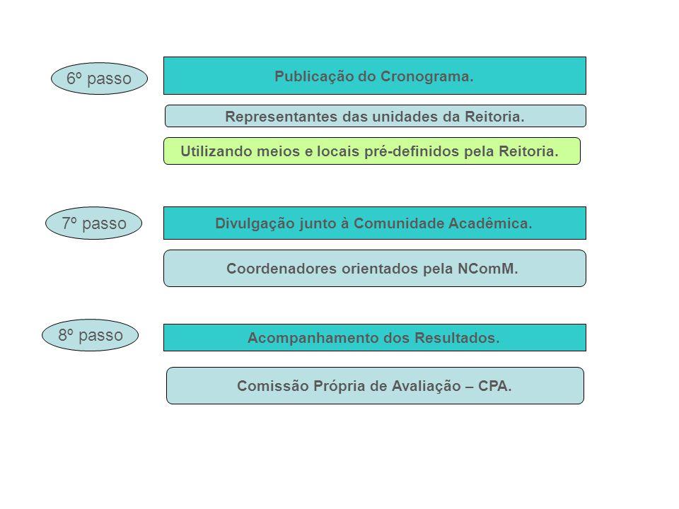 Publicação do Cronograma. 6º passo Divulgação junto à Comunidade Acadêmica. 7º passo Acompanhamento dos Resultados. 8º passo Representantes das unidad
