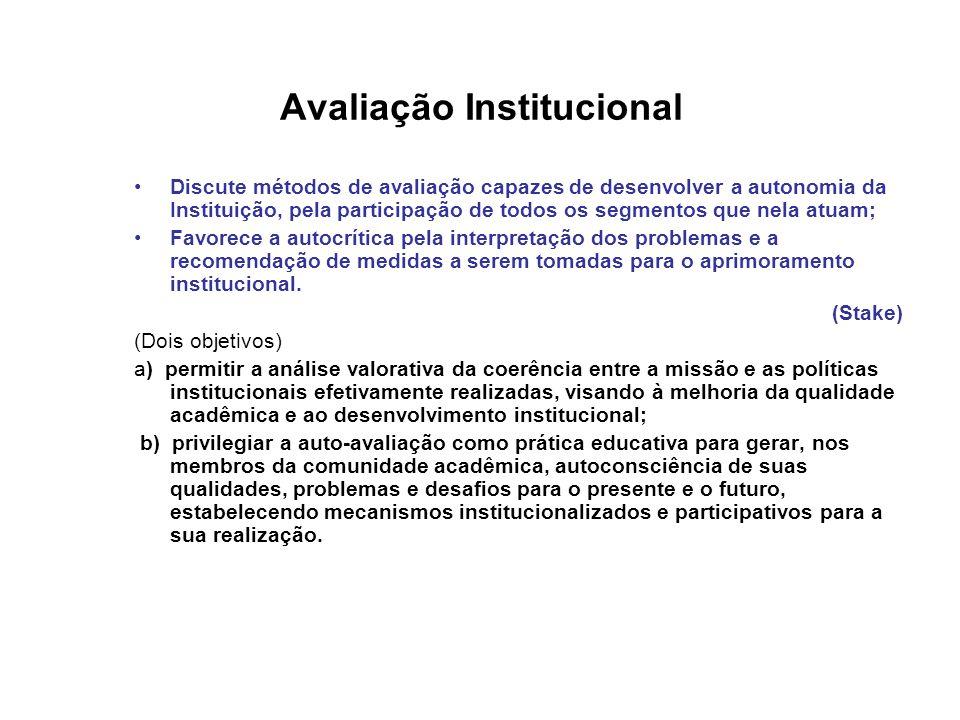 Avaliação Institucional •Discute métodos de avaliação capazes de desenvolver a autonomia da Instituição, pela participação de todos os segmentos que nela atuam; •Favorece a autocrítica pela interpretação dos problemas e a recomendação de medidas a serem tomadas para o aprimoramento institucional.