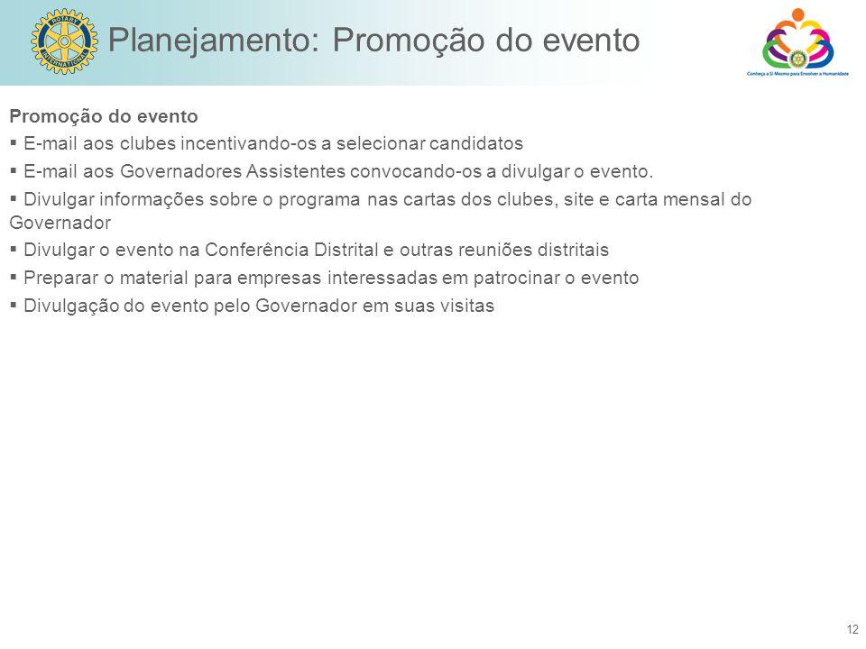 12 Promoção do evento  E-mail aos clubes incentivando-os a selecionar candidatos  E-mail aos Governadores Assistentes convocando-os a divulgar o evento.