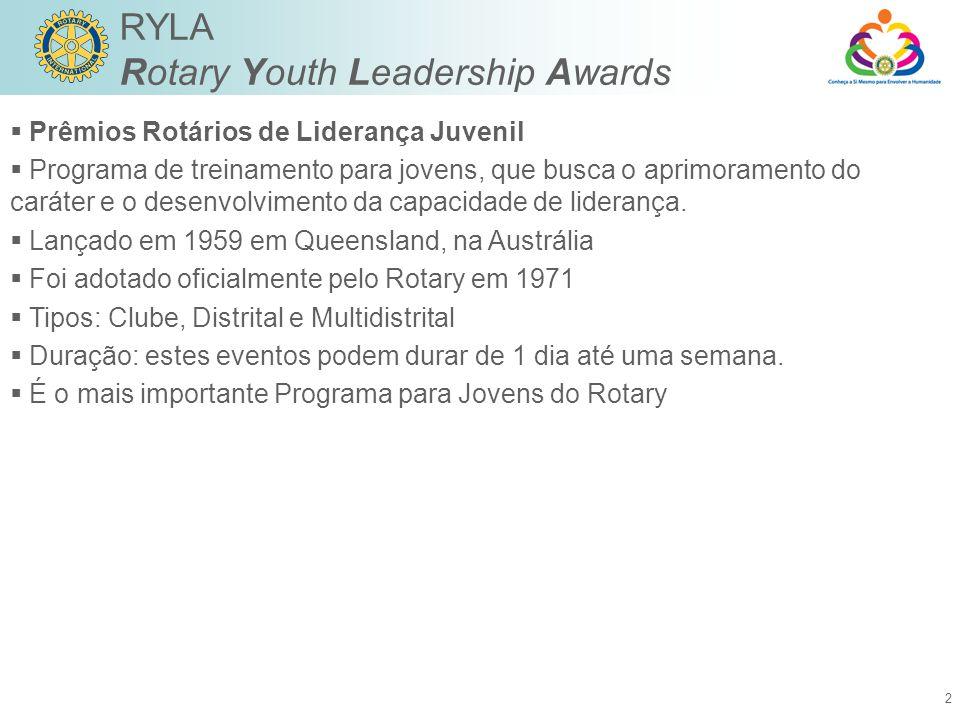 2 RYLA Rotary Youth Leadership Awards  Prêmios Rotários de Liderança Juvenil  Programa de treinamento para jovens, que busca o aprimoramento do caráter e o desenvolvimento da capacidade de liderança.