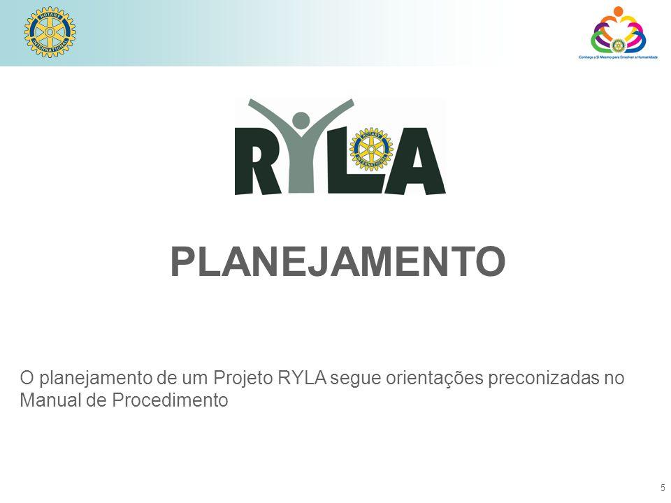 5 PLANEJAMENTO O planejamento de um Projeto RYLA segue orientações preconizadas no Manual de Procedimento