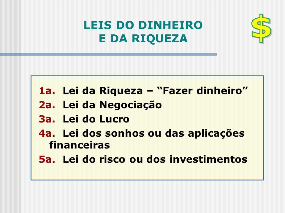 """LEIS DO DINHEIRO E DA RIQUEZA 1a. Lei da Riqueza – """"Fazer dinheiro"""" 2a. Lei da Negociação 3a. Lei do Lucro 4a. Lei dos sonhos ou das aplicações financ"""