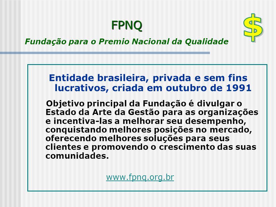 FPNQ FPNQ Fundação para o Premio Nacional da Qualidade Entidade brasileira, privada e sem fins lucrativos, criada em outubro de 1991 Objetivo principa