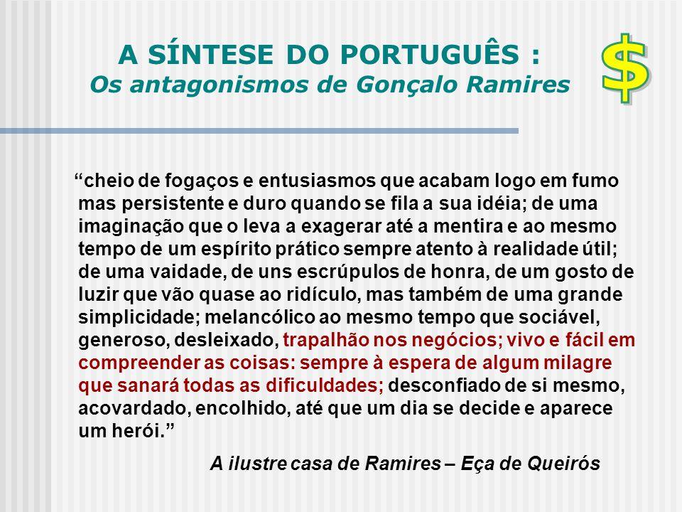 """A SÍNTESE DO PORTUGUÊS : Os antagonismos de Gonçalo Ramires """"cheio de fogaços e entusiasmos que acabam logo em fumo mas persistente e duro quando se f"""