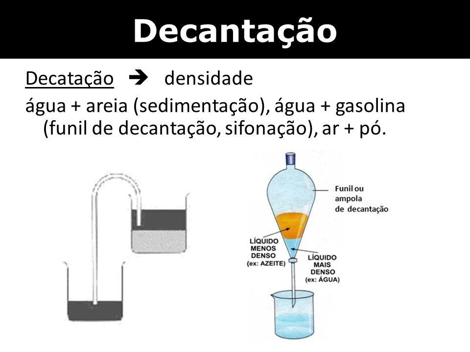 Decantação Decatação  densidade água + areia (sedimentação), água + gasolina (funil de decantação, sifonação), ar + pó.