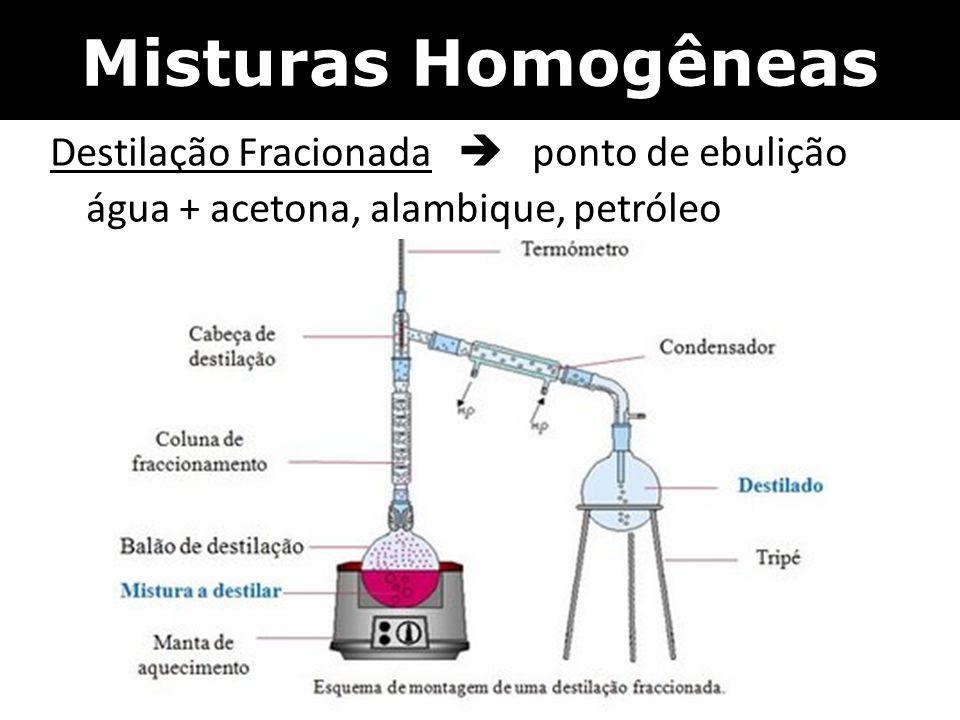 Misturas Homogêneas Destilação Fracionada  ponto de ebulição água + acetona, alambique, petróleo