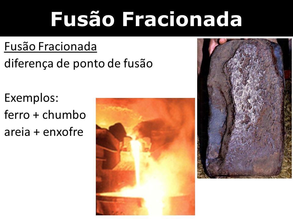 Fusão Fracionada diferença de ponto de fusão Exemplos: ferro + chumbo areia + enxofre