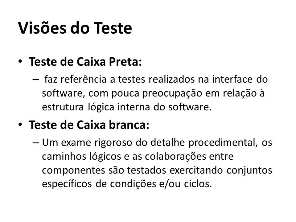 Visões do Teste • Teste de Caixa Preta: – faz referência a testes realizados na interface do software, com pouca preocupação em relação à estrutura ló