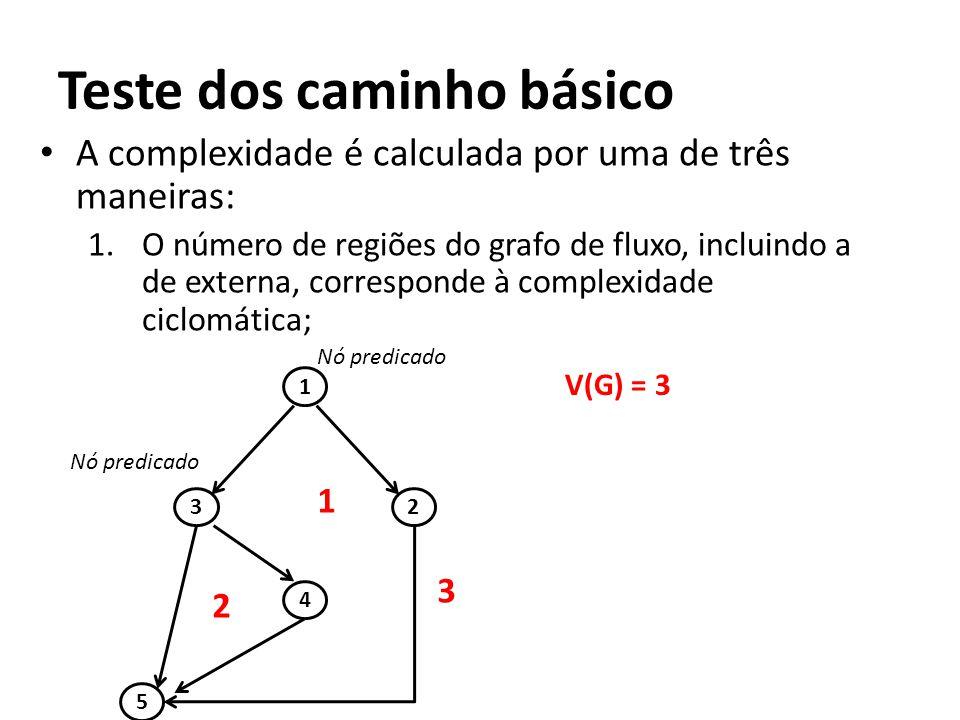 • A complexidade é calculada por uma de três maneiras: 1.O número de regiões do grafo de fluxo, incluindo a de externa, corresponde à complexidade cic