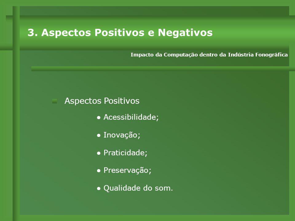 Aspectos Positivos ● Acessibilidade; ● Inovação; ● Praticidade; ● Preservação; ● Qualidade do som.