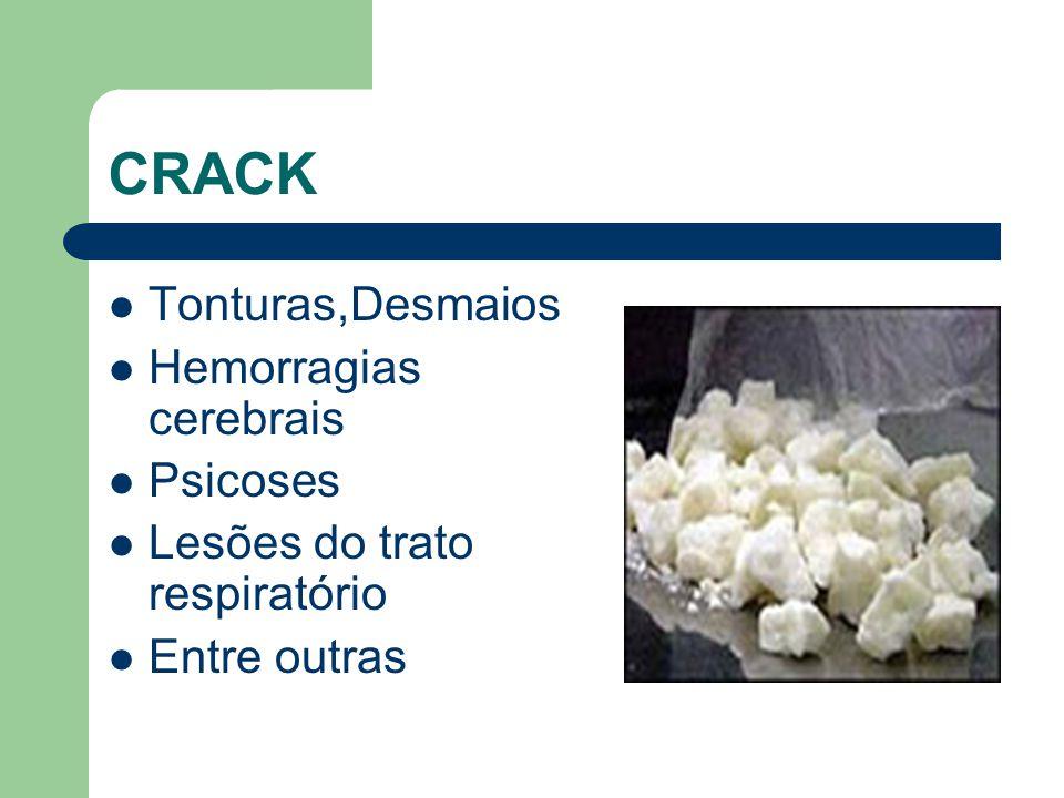 CRACK  Tonturas,Desmaios  Hemorragias cerebrais  Psicoses  Lesões do trato respiratório  Entre outras