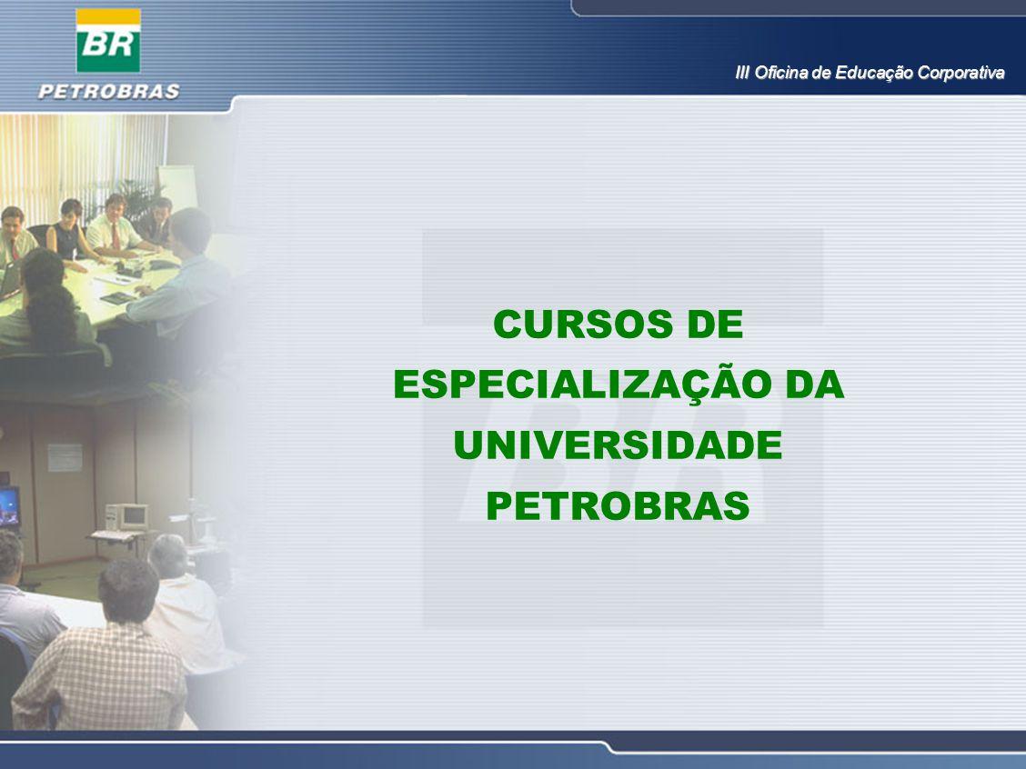 CURSOS DE ESPECIALIZAÇÃO DA UNIVERSIDADE PETROBRAS III Oficina de Educação Corporativa