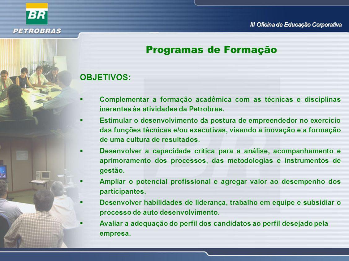 OBJETIVOS:  Complementar a formação acadêmica com as técnicas e disciplinas inerentes às atividades da Petrobras.  Estimular o desenvolvimento da po