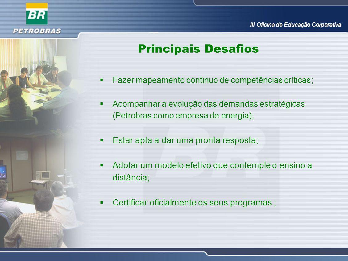 Principais Desafios  Fazer mapeamento continuo de competências críticas;  Acompanhar a evolução das demandas estratégicas (Petrobras como empresa de