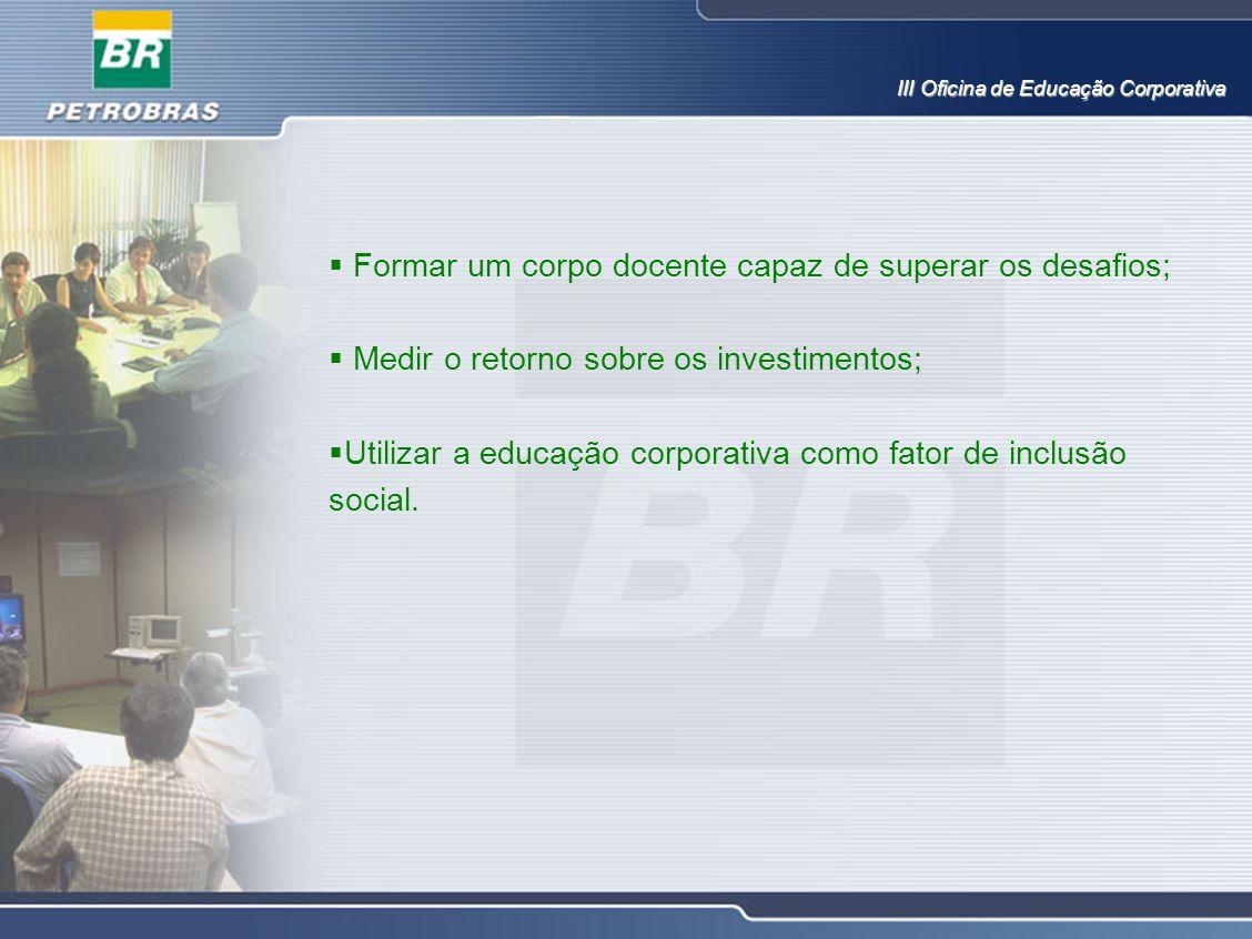  Formar um corpo docente capaz de superar os desafios;  Medir o retorno sobre os investimentos;  Utilizar a educação corporativa como fator de incl