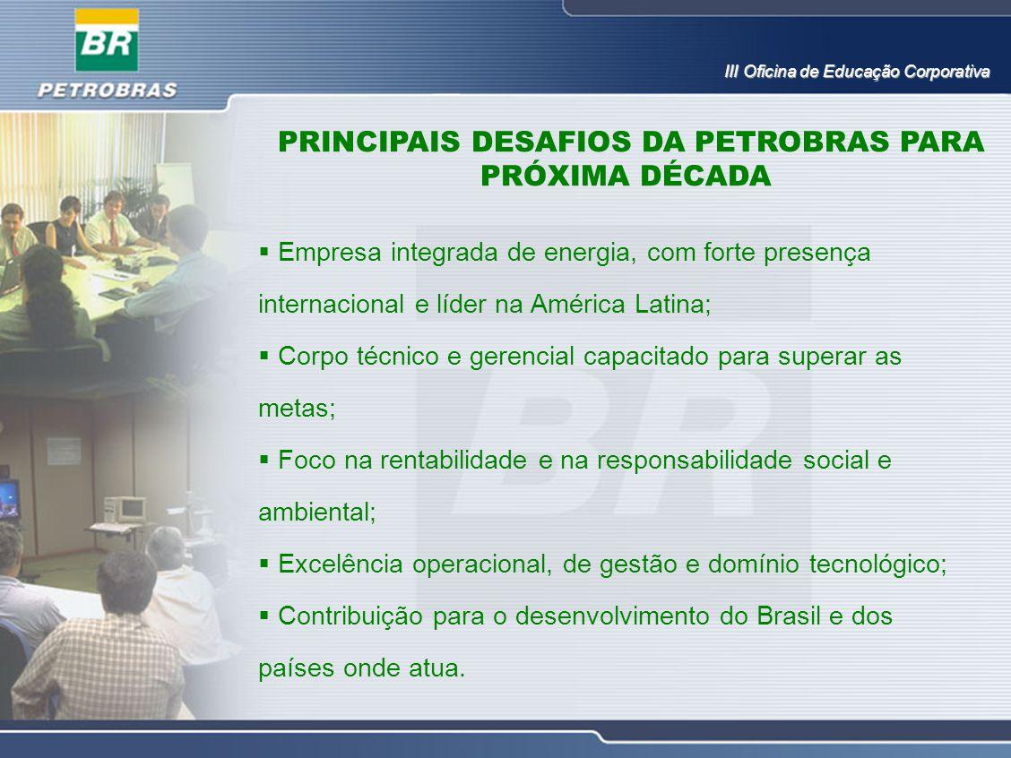 PRINCIPAIS DESAFIOS DA PETROBRAS PARA PRÓXIMA DÉCADA III Oficina de Educação Corporativa  Empresa integrada de energia, com forte presença internacio