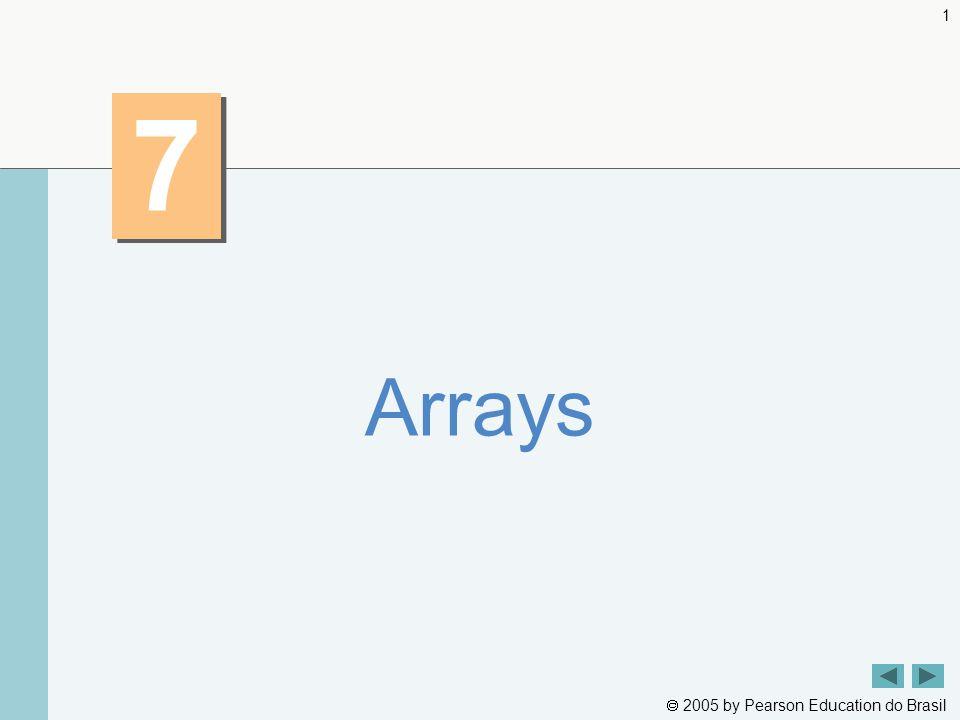  2005 by Pearson Education do Brasil 12 Resumo InitArray.java Linha 9 Declara array como um array de ints Linha 9 Compilador utiliza a lista inicializadora para alocar um array Saída do programa Declara array como um array de int s Compilador utiliza a lista inicializadora para alocar um array