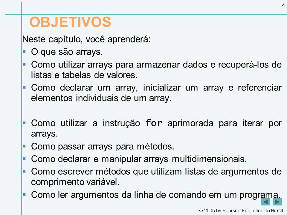  2005 by Pearson Education do Brasil 2 OBJETIVOS Neste capítulo, você aprenderá:  O que são arrays.  Como utilizar arrays para armazenar dados e re
