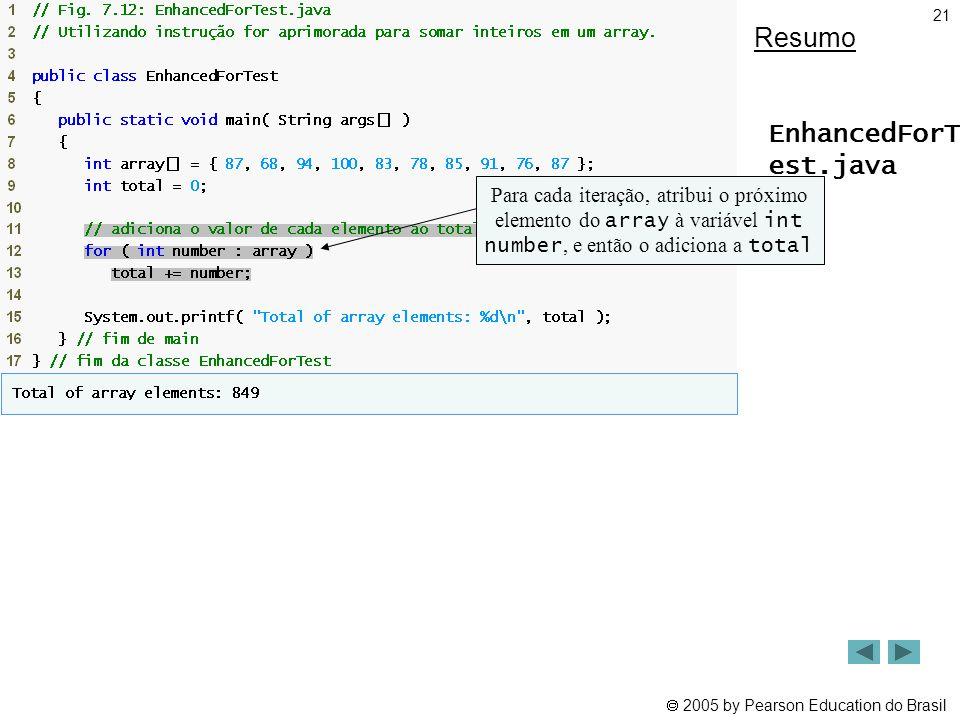  2005 by Pearson Education do Brasil 21 Resumo EnhancedForT est.java Para cada iteração, atribui o próximo elemento do array à variável int number, e