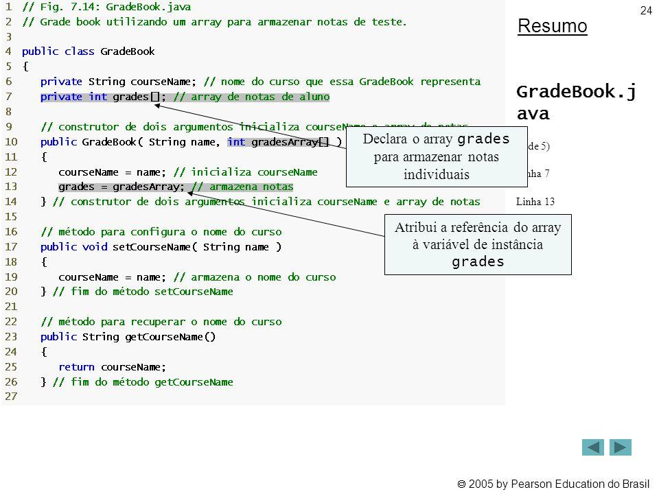  2005 by Pearson Education do Brasil 24 Resumo GradeBook.j ava (1 de 5) Linha 7 Linha 13 Declara o array grades para armazenar notas individuais Atri