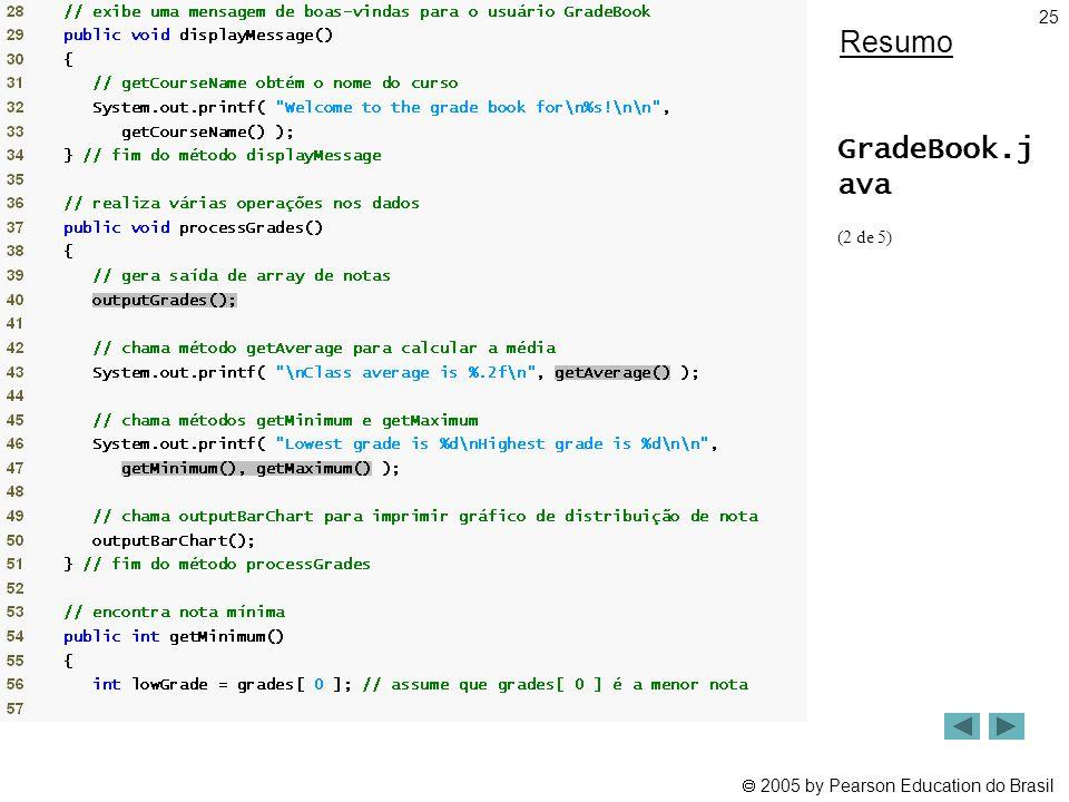  2005 by Pearson Education do Brasil 25 Resumo GradeBook.j ava (2 de 5)