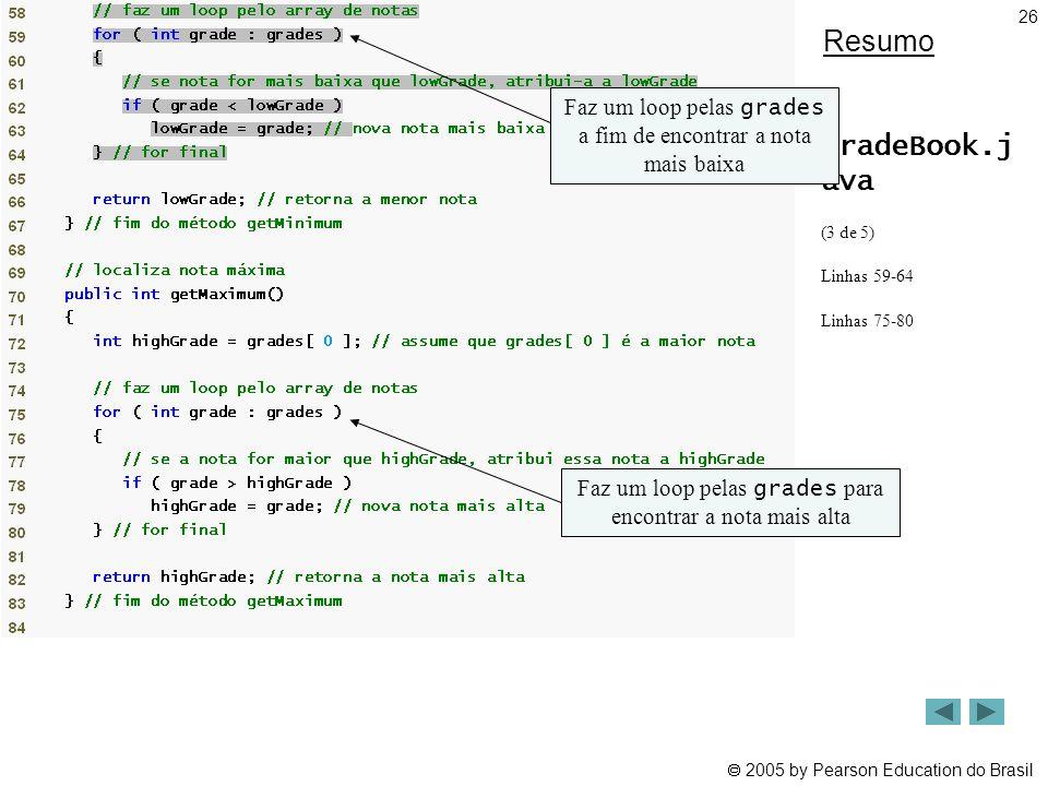  2005 by Pearson Education do Brasil 26 Resumo GradeBook.j ava (3 de 5) Linhas 59-64 Linhas 75-80 Faz um loop pelas grades a fim de encontrar a nota