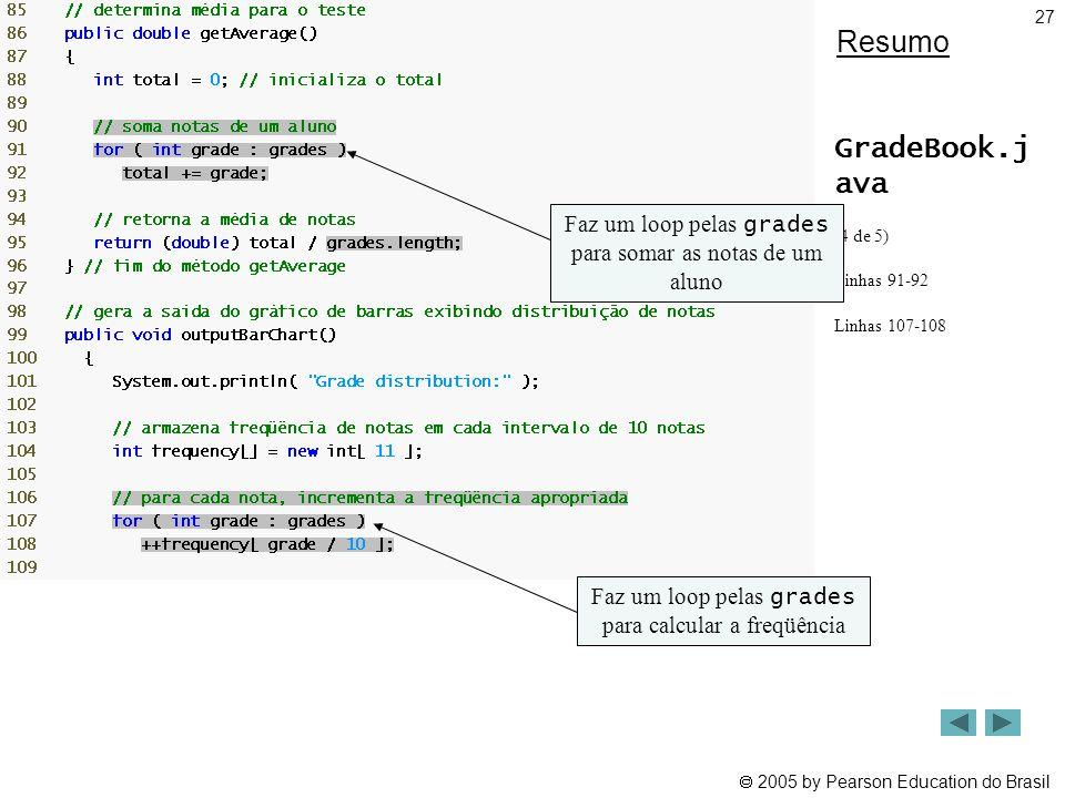  2005 by Pearson Education do Brasil 27 Resumo GradeBook.j ava (4 de 5) Linhas 91-92 Linhas 107-108 Faz um loop pelas grades para somar as notas de u