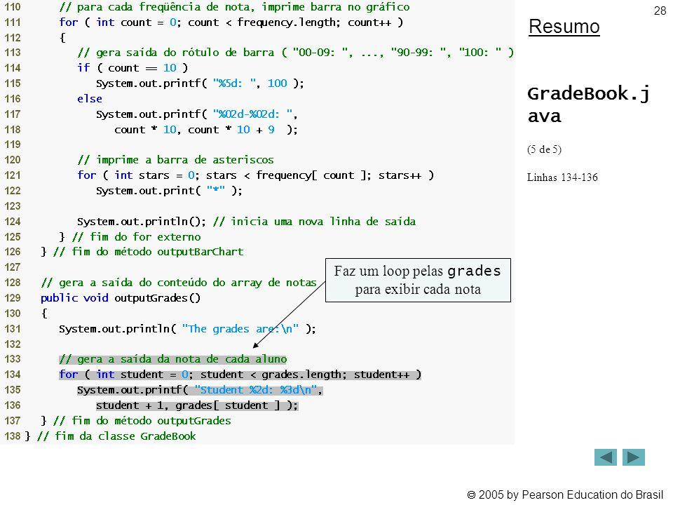 2005 by Pearson Education do Brasil 28 Resumo GradeBook.j ava (5 de 5) Linhas 134-136 Faz um loop pelas grades para exibir cada nota