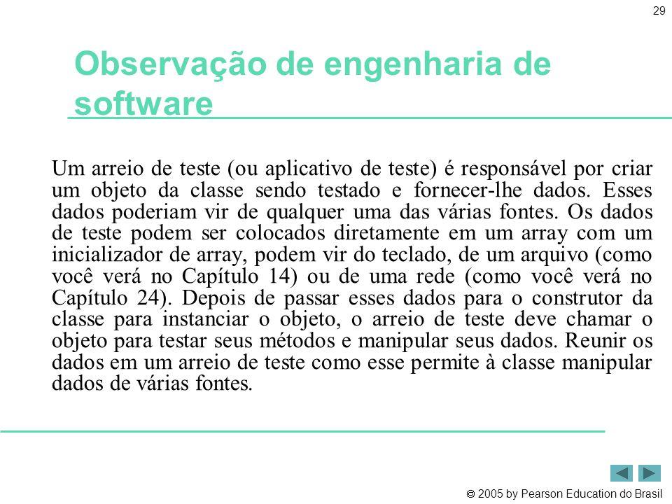  2005 by Pearson Education do Brasil 29 Observação de engenharia de software Um arreio de teste (ou aplicativo de teste) é responsável por criar um o