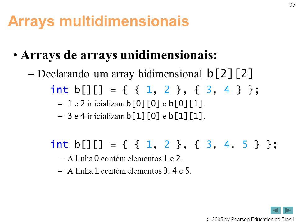  2005 by Pearson Education do Brasil 35 Arrays multidimensionais •Arrays de arrays unidimensionais: – Declarando um array bidimensional b[2][2] int b