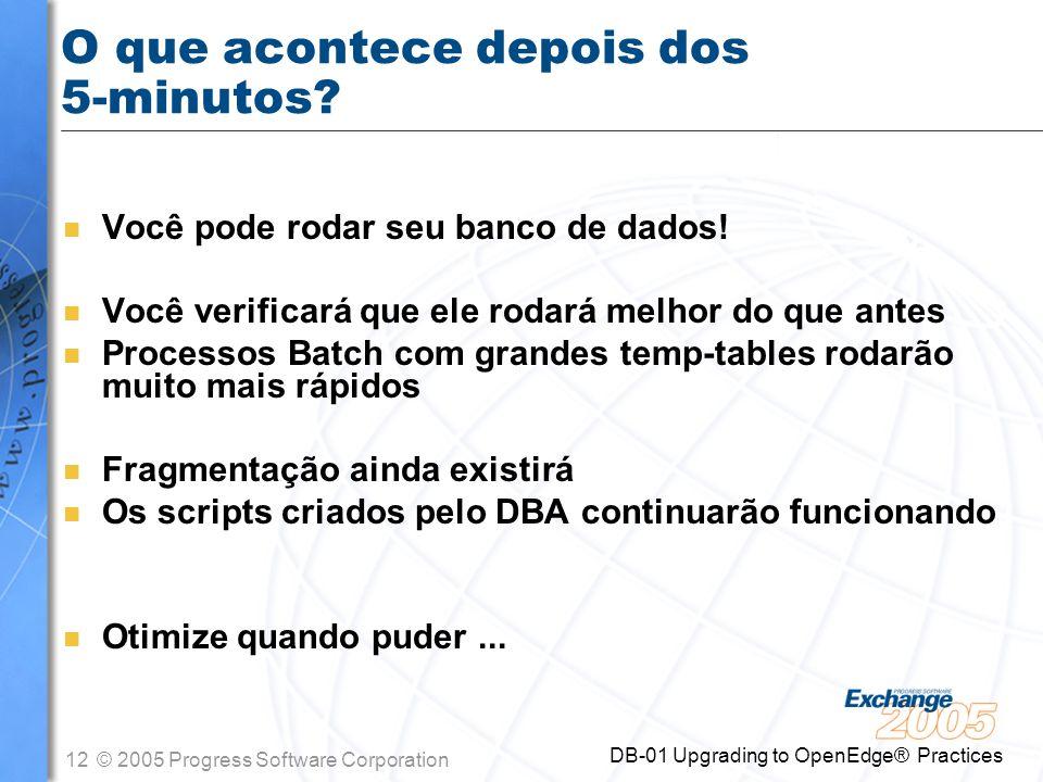 12© 2005 Progress Software Corporation DB-01 Upgrading to OpenEdge® Practices O que acontece depois dos 5-minutos? n Você pode rodar seu banco de dado