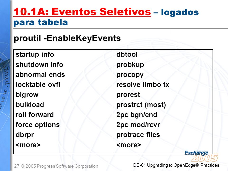 27© 2005 Progress Software Corporation DB-01 Upgrading to OpenEdge® Practices 10.1A: Eventos Seletivos – logados para tabela startup info shutdown inf