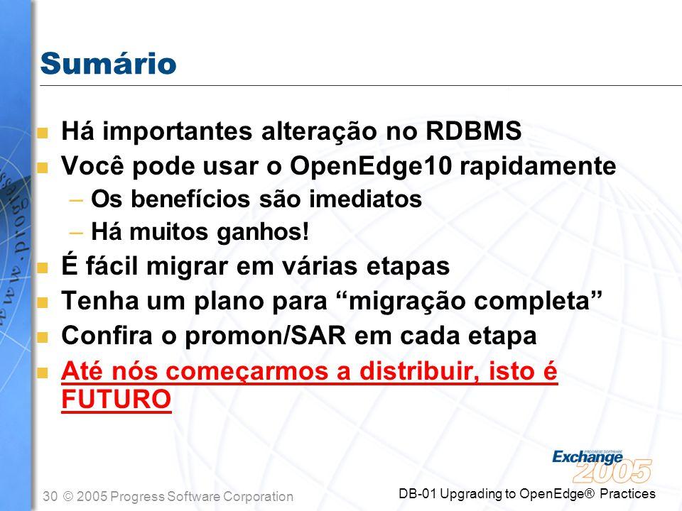 30© 2005 Progress Software Corporation DB-01 Upgrading to OpenEdge® Practices Sumário n Há importantes alteração no RDBMS n Você pode usar o OpenEdge1