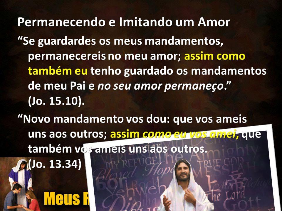 Permanecendo e Imitando um Amor Se guardardes os meus mandamentos, permanecereis no meu amor; assim como também eu tenho guardado os mandamentos de meu Pai e no seu amor permaneço. (Jo.