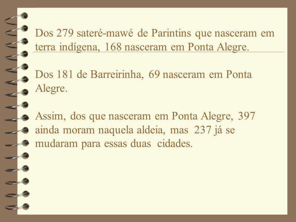Dos 279 sateré-mawé de Parintins que nasceram em terra indígena, 168 nasceram em Ponta Alegre. Dos 181 de Barreirinha, 69 nasceram em Ponta Alegre. As